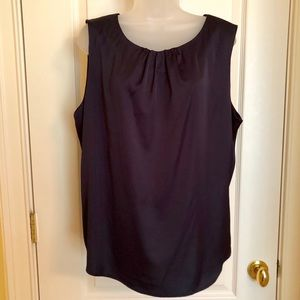 The Limited Tops - Blue Sleeveless Top The Limited Gathered Neckline